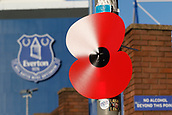 5th November 2017, Goodison Park, Liverpool, England; EPL Premier League Football, Everton versus Watford; A red poppy emblem tied to a lamp post outside Goodison Park to mark next weekend's Remembrance Day events