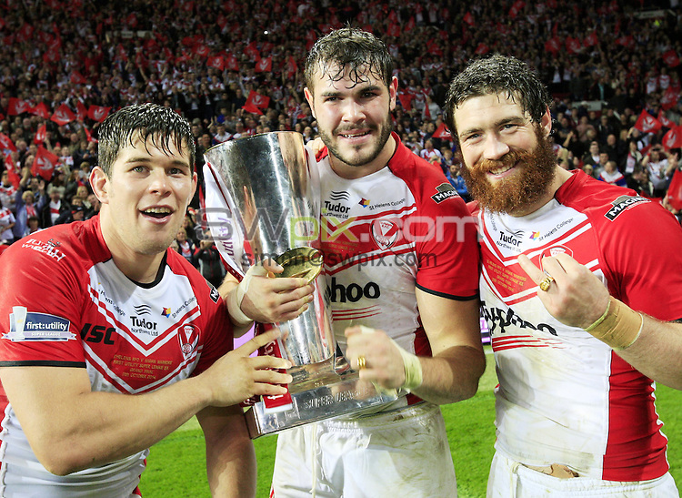 PICTURE BY CHRIS MANGNALL/SWPIX.COM...Rugby League - Super League Grand Final -  St Helens Saints v Wigan Warriors - Old Trafford Stadium, Manchester, England   - 11/10/14... St Helens Louie McCarthy Scarsbrook Alex Walmsley and Kyle Amor