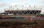 2012 London Olympic stadium under construction in December 2011, England