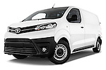 Stock pictures of low aggressive front three quarter view of 2016 Toyota Proace Comfort 4 Door Cargo Van Low Aggressive