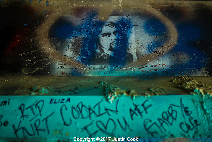 Kurt Cobain Memorial Park at the Young Street bridge where Kurt Cobain used to sleep as a teenager in his hometown of Aberdeen, WA on Saturday, June 10, 2017. (Justin Cook)