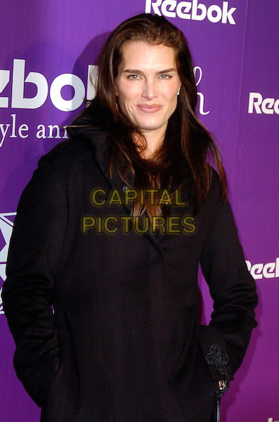 "BROOKE SHEILDS.At the Reebok 25th anniversary celebration of ""The Freestyle"" at Culture Club, New York, New York, USA,.21 February 2007..half length black coat.CAP/ADM/BL.©Bill Lyons/AdMedia/Capital Pictures. *** Local Caption ***"