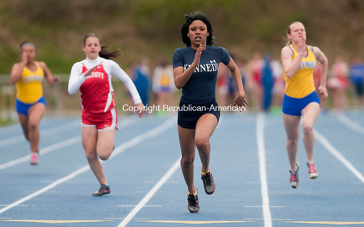 SEYMOUR, CT 23 APRIL 2013--042313JS03-- Kennedy's Imani Braxton took first in the 100 meter dash during their meet with Wolcott and Seymour Tuesday at Seymour High School..Jim Shannon Republican-American.