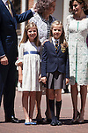 Princess Leonor of Spain and Princess Sofia of Spain pose at the Asuncion de Nuestra Senora Church after celebrating the First Communion of the Princess Leonor of Spain in Madrid, Spain. May 20, 2015. (ALTERPHOTOS/Victor Blanco)