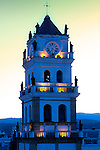 The tower of the Cathedral of Sucre, Bolivia has a Baroque style and consists of three parts, the uppermost pyramid, and balconies decorated with statues of the apostles and evangelists. Its clock was made in London in 1722 and still works.
