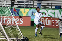 HEMPSTEAD, NY – OCTOBER 12: Diomar Diaz of the New York Cosmos  celebrates his second half goal against the Carolina RailHawks during an NASL match on October 12, 2013 at  Shuart Stadium in Hempstead, New York.