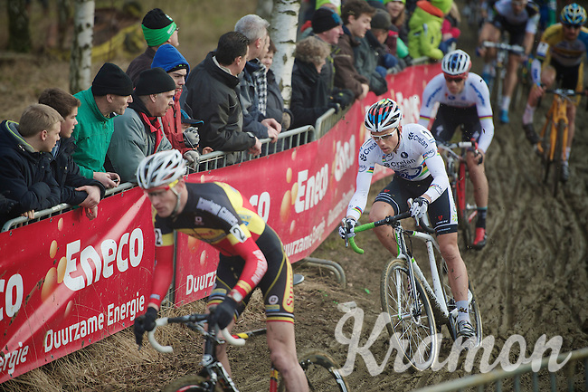 lap 1: Sven Nys (BEL) checks out the pace in the peloton before upping it considerably 1 lap later (and keeping it up until the finish)<br /> <br /> GP Sven Nys 2014