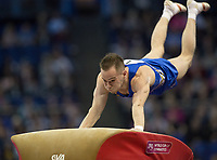 Oleg Verniaiev (UKR) in action during the men's Vault competition.  FIG World Cup Series of Gymnastics. The O2 Arena, London,  Britain 8th April 2017.