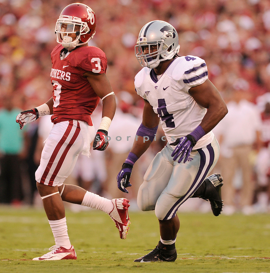 Kansas State Wildcats Arthur Brown (4) in action during a game against Oklahoma on September 22, 2012 at Gaylord Family Oklahoma Memorial Stadium in Norman, OK. Kansas State beat Oklahoma 24-19.