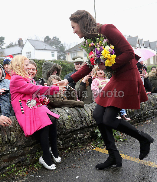 22 February 2017 - Princess Kate Duchess of Cambridge meets members of the public after visiting Caerphilly Family Intervention Team (FIT) to learn about their work with children with emotional and behavioural difficulties, problems with family relationships and those who have or who are likely to self-harm in Caerphilly. Photo Credit: ALPR/AdMedia