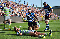Matt Banahan of Bath Rugby celebrates scoring a try in the first half. Aviva Premiership match, between Bath Rugby and Newcastle Falcons on September 23, 2017 at the Recreation Ground in Bath, England. Photo by: Patrick Khachfe / Onside Images