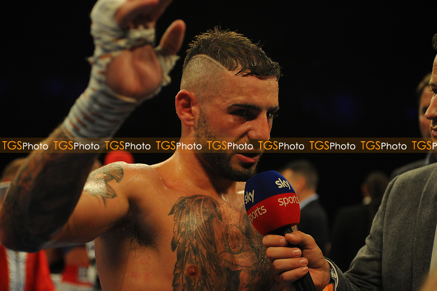 A dejected Lewis Ritson after his points loss to Francesco Patera during a Boxing Show at the Metro Radio Arena on 13th October 2018