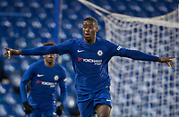 Marc Guehi of Chelsea U18 celebrates spring his goal during the FA Youth Cup FINAL 1st leg match between Chelsea U18 and Arsenal U18 at Stamford Bridge, London, England on 27 April 2018. Photo by Andy Rowland.