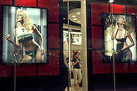 A lady shops in a luxury lingerie boutique at the Golden Resources Shopping Mall in Beijing, China. This trendy shopping centre, dubbed the Great Mall of China, boasts more than 1,000 shops in its six million square feet (600,000 square metres) floor area..29 Jun 2005