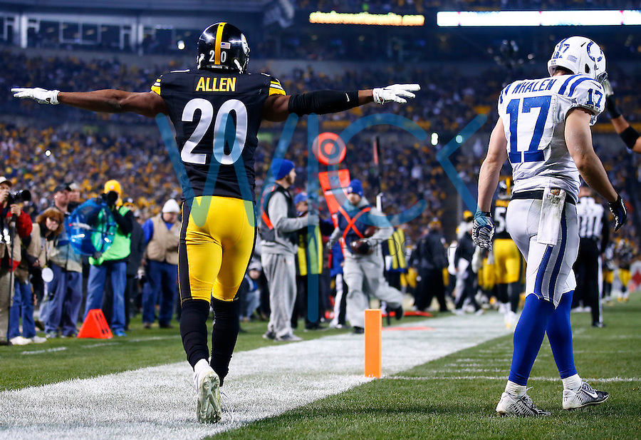 Will Allen #20 of the Pittsburgh Steelers reacts following an incomplete pass in the endzone thrown to Griff Whalen #17 of the Indianapolis Colts during the game at Heinz Field on December 6, 2015 in Pittsburgh, Pennsylvania. (Photo by Jared Wickerham/DKPittsburghSports)