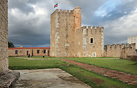 Fortaleza Ozama, or Ozama Fortress, a defensive castle built by the Spanish 1502-05 on the Ozama river, in Santo Domingo, capital of the Dominican Republic, in the Caribbean. The Torre del Homenaje or Tower of Homage is the tallest tower and served as a lookout. The fortress guards the entrance to the port. Santo Domingo's Colonial Zone is listed as a UNESCO World Heritage Site. Picture by Manuel Cohen