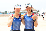 (L-R) Miharu Takashima,  Hinako Takimoto (JPN), <br /> AUGUST 20, 2018 - Rowing : <br /> Women's Lightweight Double Sculls  Final <br /> at Jakabaring Sport Center Lake <br /> during the 2018 Jakarta Palembang Asian Games <br /> in Palembang, Indonesia. <br /> (Photo by Yohei Osada/AFLO SPORT)