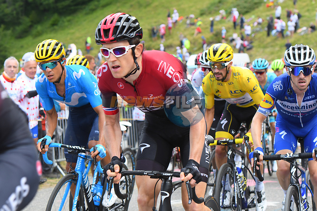 Geraint Thomas (WAL) Team Ineos and Yellow Jersey Julian Alaphilippe (FRA) Deceuninck-Quick Step in the main group of GC contenders up the final climb Horquette d'Ancizan during Stage 12 of the 2019 Tour de France running 209.5km from Toulouse to Bagneres-de-Bigorre, France. 18th July 2019.<br /> Picture: KARLIS | Cyclefile<br /> All photos usage must carry mandatory copyright credit (© Cyclefile | KARLIS)