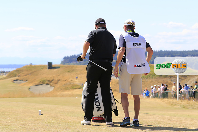 Shane LOWRY (IRL) and caddie Dermot Byrne on the 10th tee during Saturday's Round 3 of the 2015 U.S. Open 115th National Championship held at Chambers Bay, Seattle, Washington, USA. 6/20/2015.<br /> Picture: Golffile | Eoin Clarke<br /> <br /> <br /> <br /> <br /> All photo usage must carry mandatory copyright credit (&copy; Golffile | Eoin Clarke)