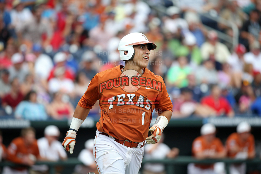 Tres Barrera #1 of the Texas Longhorns bats during Game 1 of the 2014 Men's College World Series between the UC Irvine Anteaters and Texas Longhorns at TD Ameritrade Park on June 14, 2014 in Omaha, Nebraska. (Brace Hemmelgarn/Four Seam Images)