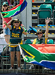 Fans of South Africa team show their supports  during Day 2 of Hong Kong Cricket World Sixes 2017 Cup Semi 1 match between  New Zealand Kiwis vs South Africa  at Kowloon Cricket Club on 29 October 2017, in Hong Kong, China. Photo by Yu Chun Christopher Wong / Power Sport Images