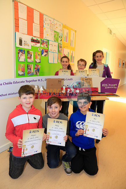Brian O'Gorman, Daniel Winters Max Russell, Libby Svejear Michael Eagan and Alex Eliott Students from Le Cheile with there BT Young Scientist awards.<br /> Picture www.newsfile.ie