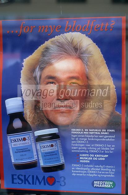 Europe/Norvège/Iles Lofoten : Affichette avec esquimau pour un supplément vitaminé