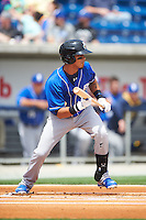 Biloxi Shuckers shortstop Orlando Arcia (2) squares to bunt during the first game of a double header against the Pensacola Blue Wahoos on April 26, 2015 at Pensacola Bayfront Stadium in Pensacola, Florida.  Biloxi defeated Pensacola 2-1.  (Mike Janes/Four Seam Images)