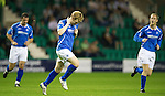 Hibs v St Johnstone...28.09.11   SPL Week.Liam Craig celebrates his goal on his 150th appearance for saints.Picture by Graeme Hart..Copyright Perthshire Picture Agency.Tel: 01738 623350  Mobile: 07990 594431