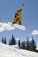 Man, Scenic, Active Lifestyle, Winter, Snowboarding, Sports, Excercise, Training, Fitness, Extreme, Wilderness, Speed, Jumping, Air, Terrain Park, Adventure, Action, Vacation. Brad Webster (MR 661). Backcountry Colorado United States Rocky Mountains, Summ