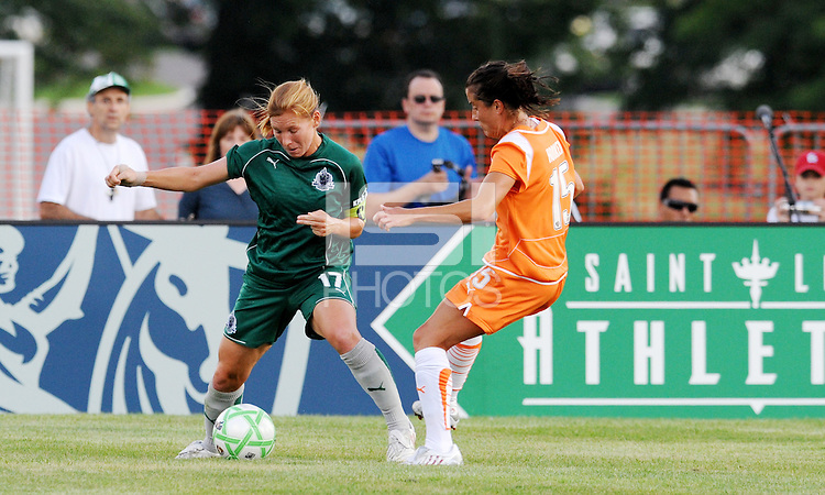 Lori Chalupny (green). Katie Hooker..Saint Louis Athletica defeated Sky Blue F.C 1-0, at The Anheuser-Busch Soccer Park, Fenton, Missouri.
