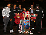 "Derrick Baskin, Ephraim Sykes, Jeremy Pope, E. Clayton Cornelious, James Harkness and Jawan M. Jackson during the Legacy Robe honoring E. Clayton Cornelious for ""Ain't Too Proud"" at the Imperial Theatre on 3/20/2019 in New York City."