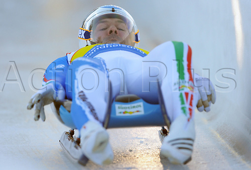 Italy's Armin Zoeggeler starts at the 3rd Luge World Cup in Altenberg, Germany, 05 December 2009. Photo: RALF HIRSCHBERGER/Actionplus - UK Editorial Use