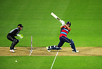 England's Dawid Mulan bats during the International Twenty20 cricket match between the NZ Black Caps and England at Westpac Stadium in Wellington, New Zealand on Tuesday, 13 February 2018. Photo: Dave Lintott / lintottphoto.co.nz