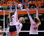 November 22, 2019; Rapid City, SD, USA; Kamryn Anderson #16 of Warner vs Lainee Schonebaum #2 and Ramee Hanson #8 Burke at the 2019 South Dakota State Volleyball Championships at the Rushmore Plaza Civic Center in Rapid City, S.D. (Richard Carlson/Inertia)