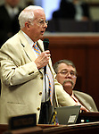 Nevada Assemblyman Lynn Stewart, R-Henderson, speaks on the Assembly floor on Monday, April 25, 2011, at the Legislature in Carson City, Nev. Assembly Minority Leader Pete Goicoechea, R-Eureka is at right..Photo by Cathleen Allison
