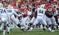 NWA Democrat-Gazette/MICHAEL WOODS • @NWAMICHAELW<br /> University of Arkansas quarterback Brandon Allen drops back to pass during Saturdays game October, 24, 2015 against Auburn at Razorback Stadium in Fayetteville.