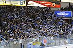 Die ERC Ingolstadt Fans feiern ihre Mannschaft beim Spiel in der DEL, ERC Ingolstadt (blau) - Nuernberg Ice Tigers (weiss).<br /> <br /> Foto &copy; PIX-Sportfotos *** Foto ist honorarpflichtig! *** Auf Anfrage in hoeherer Qualitaet/Aufloesung. Belegexemplar erbeten. Veroeffentlichung ausschliesslich fuer journalistisch-publizistische Zwecke. For editorial use only.