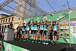 Bora-Hansgrohe at sign on before the start of the 112th edition of Il Lombardia 2018, the final monument of the season running 241km from Bergamo to Como, Lombardy, Italy. 13th October 2018.<br /> Picture: Eoin Clarke | Cyclefile<br /> <br /> <br /> All photos usage must carry mandatory copyright credit (© Cyclefile | Eoin Clarke)