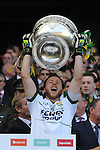 Brendan Kealy lifts the Sam Maguire Cup to celebrate  Kerry's victory over Donegal in the All-Ireland Football Final against  in Croke Park 2014.<br /> Photo: Don MacMonagle<br /> <br /> <br /> Photo: Don MacMonagle <br /> e: info@macmonagle.com