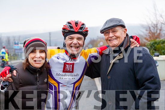 Richie O'Sullivan Chaingang Cycling Club pictured with his sister Angie and father Dick O'Sullivan at the Lacey Cup Cycle on Sunday morning last.