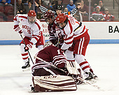Kieffer Bellows (BU - 9), Jake McLaughlin (UMass - 28), Patrick Curry (BU - 11), Ryan Wischow (UMass - 1) - The Boston University Terriers defeated the University of Massachusetts Minutemen 3-1 on Friday, February 3, 2017, at Agganis Arena in Boston, Massachusetts.The Boston University Terriers defeated the visiting University of Massachusetts Amherst Minutemen 3-1 on Friday, February 3, 2017, at Agganis Arena in Boston, MA.