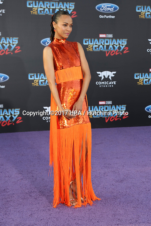 "LOS ANGELES - APR 19:  Zoe Saldana at the ""Guardians of the Galaxy Vol. 2"" Los Angeles Premiere at the Dolby Theater on April 19, 2017 in Los Angeles, CA"