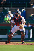 Scottsdale Scorpions catcher Stuart Turner (11) waits for a throw during an Arizona Fall League game against the Surprise Saguaros on October 22, 2015 at Scottsdale Stadium in Scottsdale, Arizona.  Surprise defeated Scottsdale 7-6.  (Mike Janes/Four Seam Images)