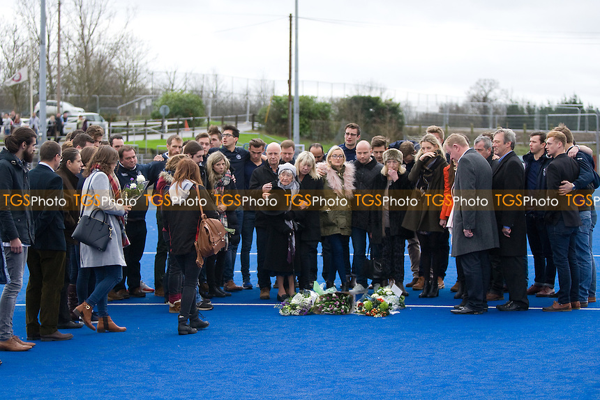 Tributes to Tom Wilson at Old Loughtonians Hockey Club, Roding Sports Centre, Luxborough Lane, Chigwell, England on 12/12/2015