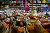 Herbs and spices for sale at 'Saladin Epices du Monde' in Noailles district of Marseille, France, 04 February 2013