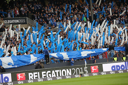 01.06.2015. Karlsruhe, Germany. Bundesliga Relegation Playoff final second leg. Karlsruhe versus Hamburg.  Karlsruhe fans in good form