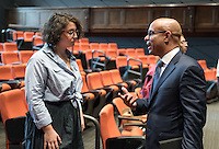 "Sarah Greilsamer '17. As part of the Can the United Nations Empower Social Change series and Global Sustainable Development Speaker series, Occidental College hosts Laurent Lamothe, Fmr. Prime Minister of Haiti, as he talks about ""New Approaches to Development: Empowering Economic Change"" on Sept. 28, 2016 in Choi Auditorium. Sponsored by Kahane Oxy-at-the-United Nations Program, Young Initiative, and Economics Department.<br /> Born in Port-au-Prince, Haiti, he served as Prime Minister of Haiti between May 2012 and December 2014, the longest tenure of any Haitian Prime Minister in three decades. During his time in office, Lamothe presided over the design and implementation of a transformational social policy agenda targeting the poorest sectors of the Haitian population. He also presided over the largest infrastructure development in recent memory, including schools, bridges, roads that are now clearly visible throughout Haiti.<br /> (Photo by Marc Campos, Occidental College Photographer)"