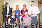 .AAI:  Very proud of themselfs on Saturday night as they werew presented with the Kerr AAI Awards in The Manopr West Hotel, Tralee. Front l-r: Sheila O'Donoghue (Geeveguilla AC) and Patrick O'Shea (Iveragh AC Caherciveen). Back l-r: James Doran (An Riocht AC), Maria McCarthy and Daniel Clifford  (farranfore/Maine Valley AC).