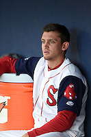 Salem Red Sox outfielder Jonathan Roof (3) in the dugout before a game against the Lynchburg Hillcats on April 25, 2014 at Lewisgale Field in Salem, Virginia.  Salem defeated Lynchburg 10-0.  (Mike Janes/Four Seam Images)